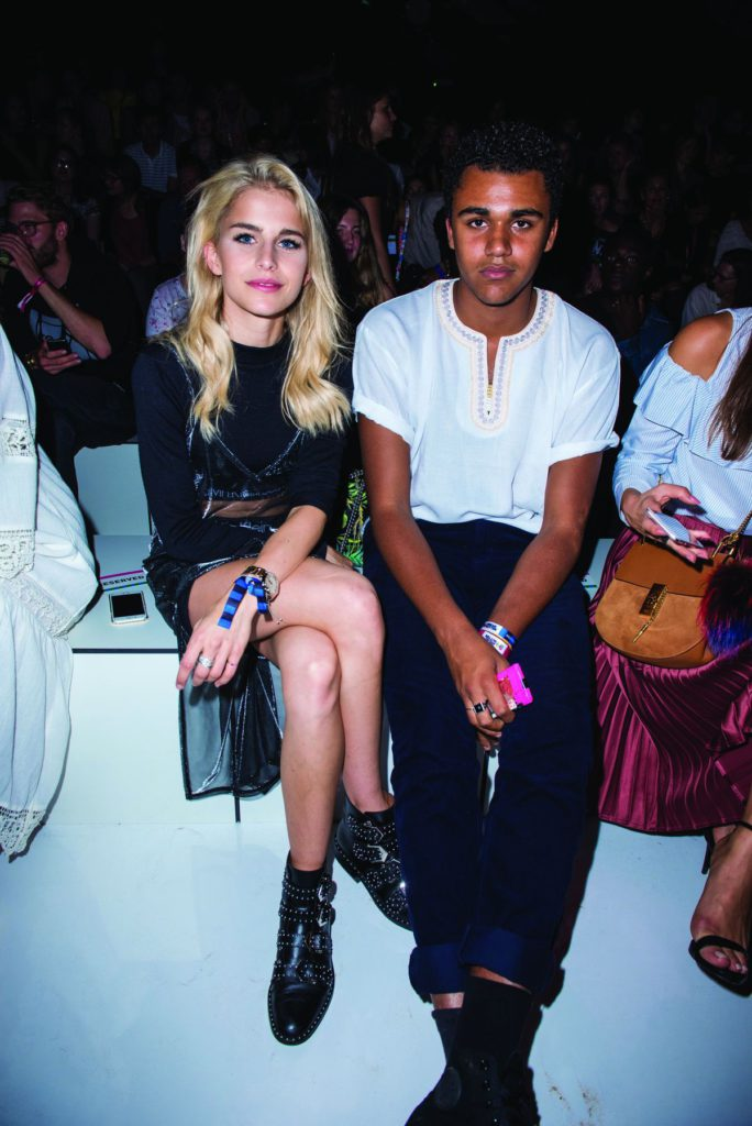 BERLIN, GERMANY - SEPTEMBER 04: Caro Daur (L) and Langston Uibel (R) are seen at the Zalando fashion show during the Bread&Butter by Zalando at arena Berlin on September 4, 2016 in Berlin, Germany. (Photo by Zacharie Scheurer/Getty Images for Bread&Butter by Zalando)